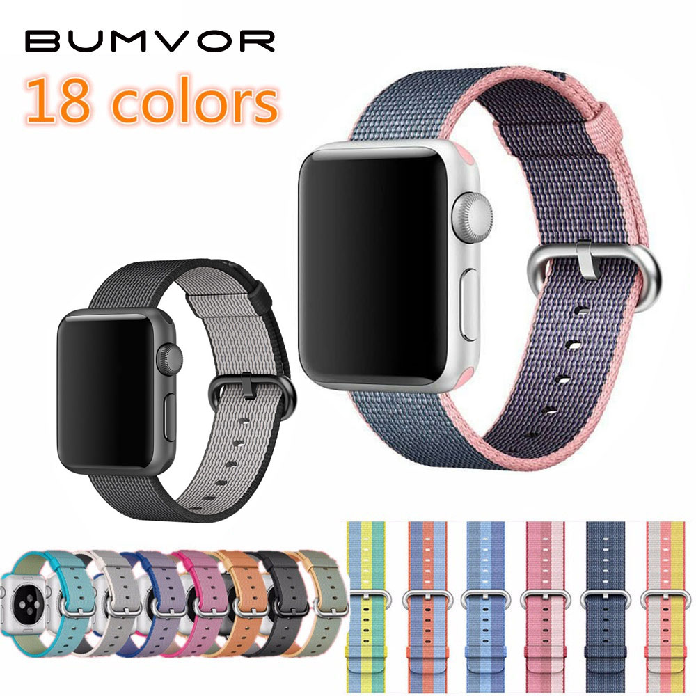 BUMVOR 10PCS Series 3/2/1 Woven Nylon Sports Strap Band for Apple Watch Sport Edition 38mm 42mm Case Connector Adapter