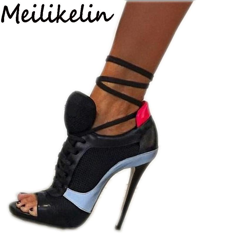 цена на Meilikelin Roman Sport Sandals Women Mesh Net Shoes Peep Toe Pumps Lace Up Ankle Strap High Heel Stilettos Hippie Punk Shoes