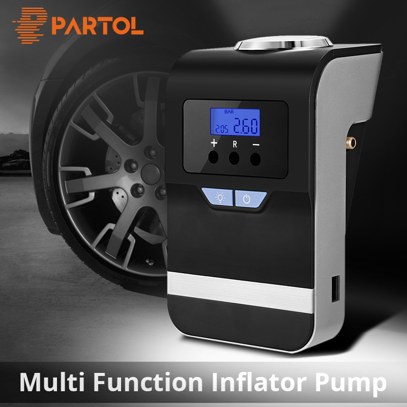 Partol 120W Portable Car Air Pump Digital Tire Inflator Bicycles Motorcycles Rubber Boat Balloons Lighting SOS Emergency Light