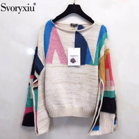 Svoryxiu Runway Autumn Winter Wool Blend Knitting Sweater Women's Fashion Split Flare Sleeve Colorful Knitting Pullovers Female
