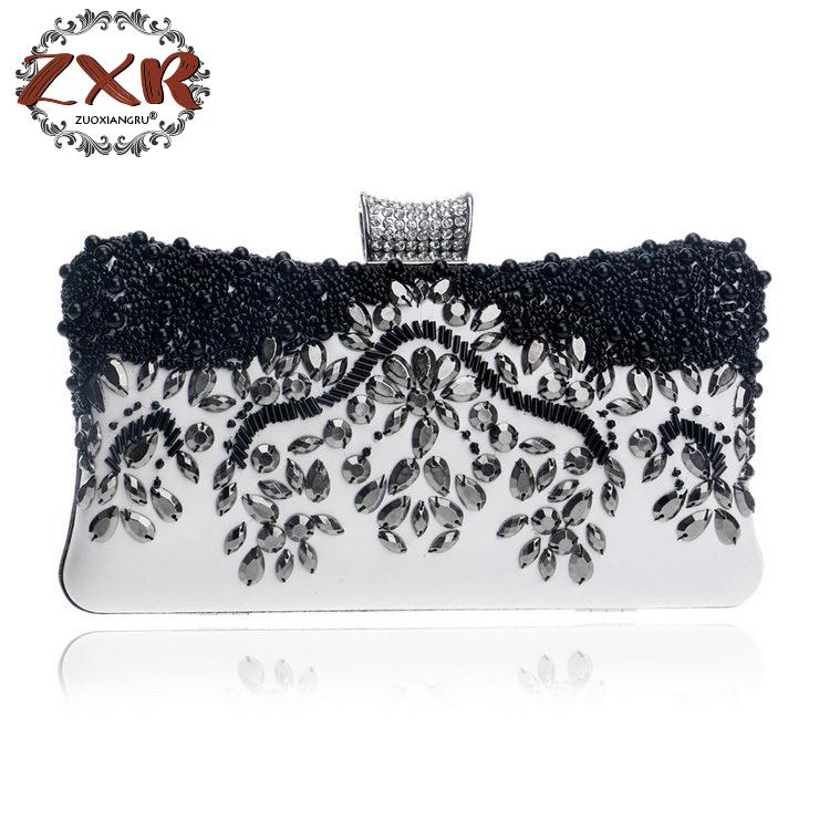 Zuoxiangru Brand Pu Fashion Womens Diamond Luxury Evening Bag Clutch Bag Shoulder Strap Handbag Purse Beaded Wedding Package