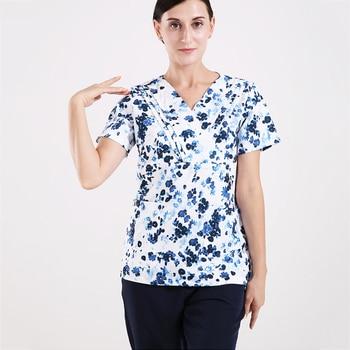 Women Chinese Print Scrub Set Nurse Uniforms Medical Scrubs Doctor Nursing Outfit Top Pant Sporty Ultra Soft Summer Scrubs