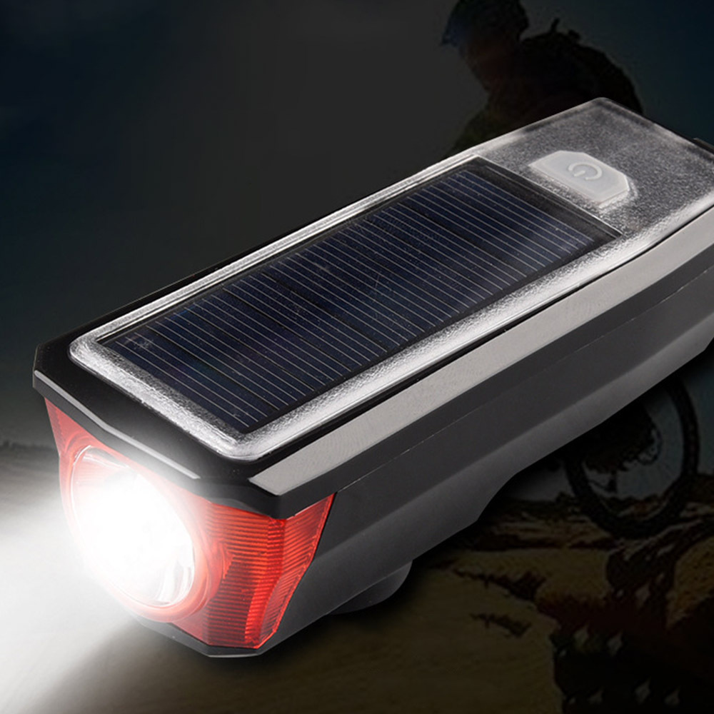 Solar Bike Bicycle Bell Light LED Lamp Front Headlights Waterproof Cycling Portable Horn Light USB Rechargeable 2019 New Arrival in Bicycle Light from Sports Entertainment