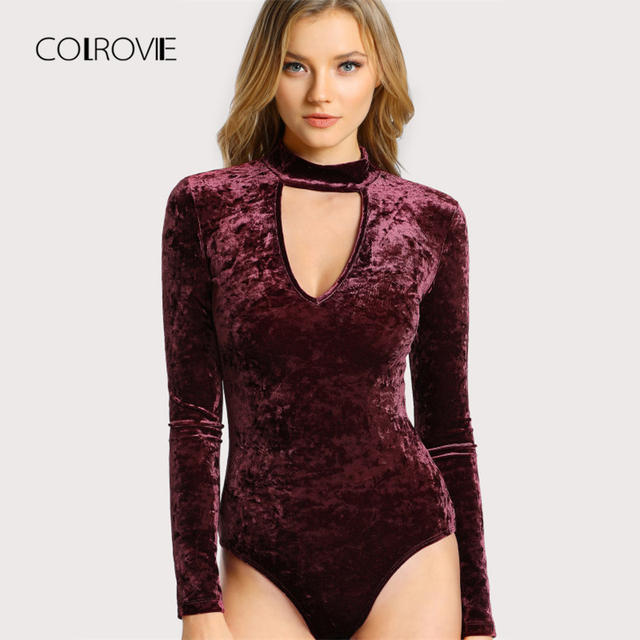 c3b2840e5a COLROVIE Choker Neck Sexy Skinny Bodysuit Crushed Velvet Women Long Sleeve  Burgundy Bodysuits Basic Elegant Autumn
