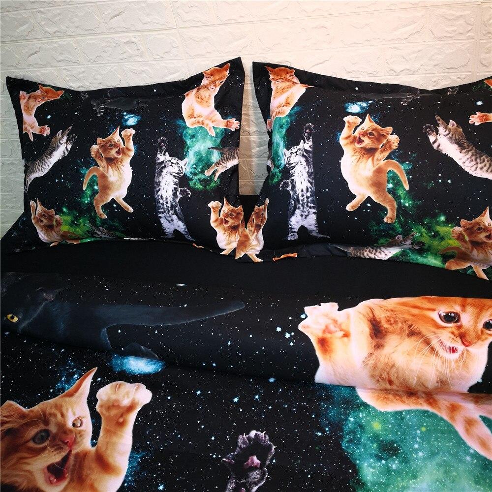 3D piękny legowisko dla kota i pościel zestaw pościel z mikrofibry nowoczesny czarny pocieszyciel kołdra pokrywa zestaw US królowa pościel dla dorosłych łóżko w Zestawy pościeli od Dom i ogród na  Grupa 3