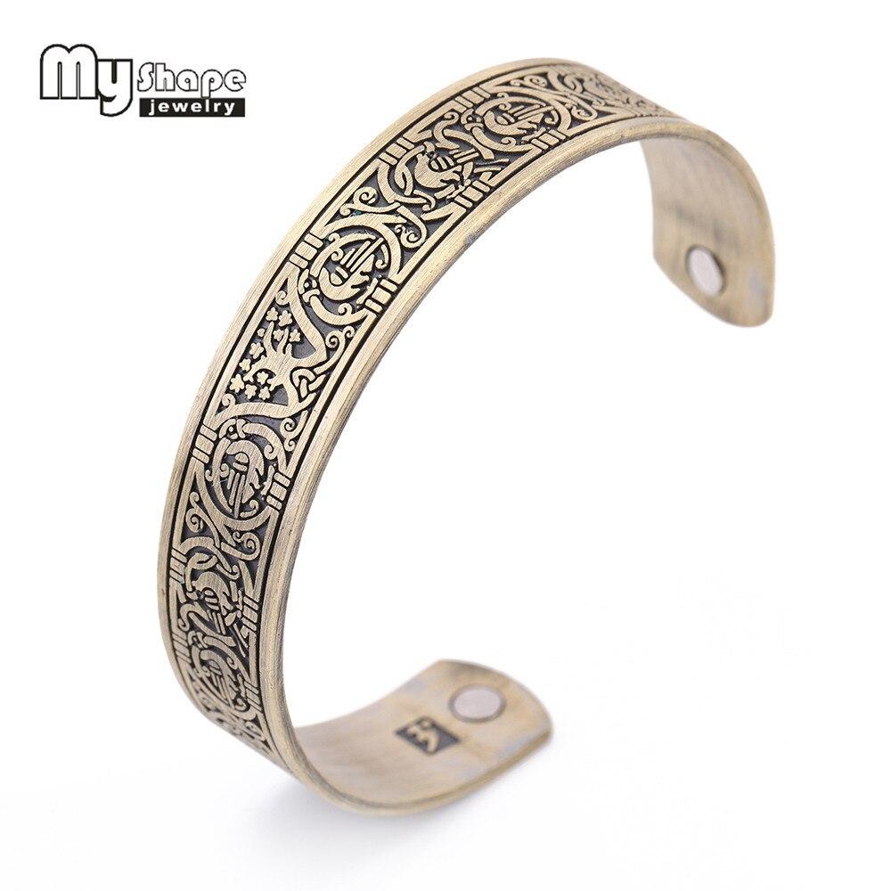 My Shape Vintage Teen Viking Bangle Bracelet Men Burn Luck Knots Health Magnetic Cuff Bracelets Bangles for Women Jewelry