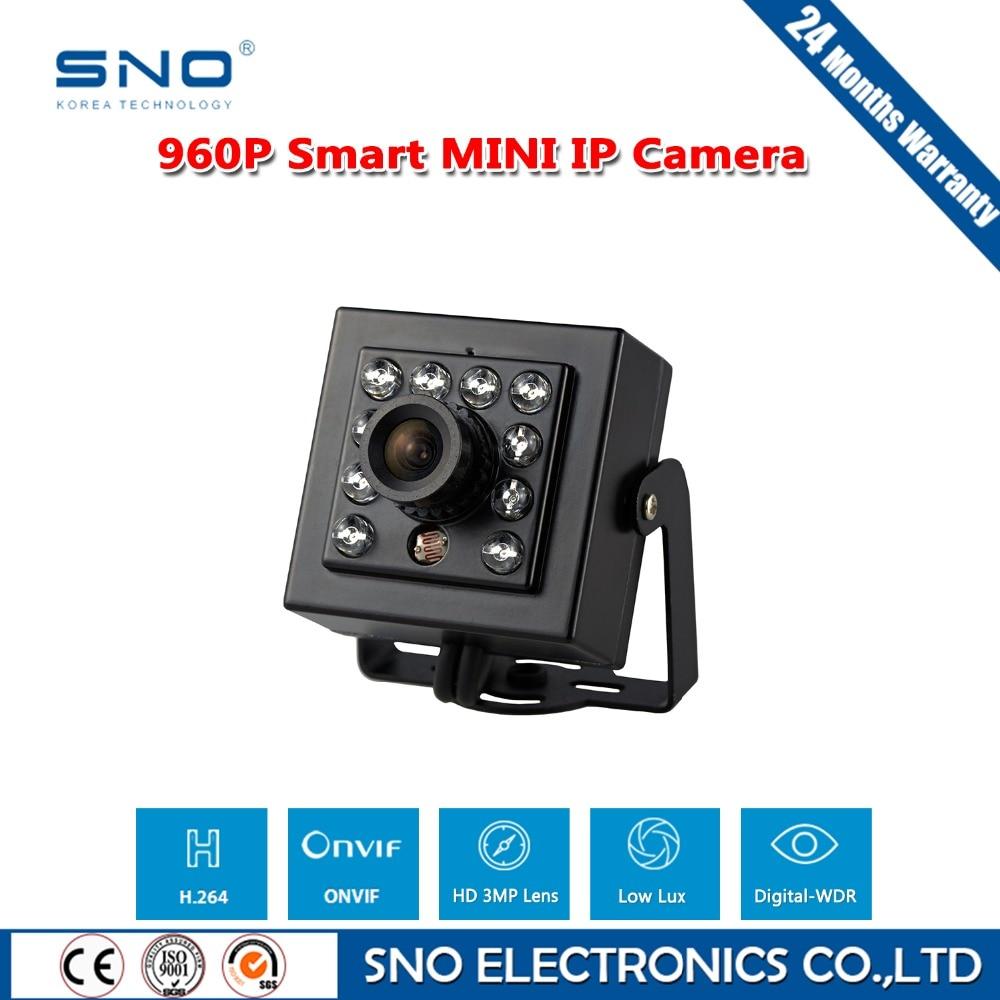 ФОТО SNO High Quality Metal Case 1280 x 960P 1.3MP CMOS Infrared Mini IP Camera Indoor Black Security Camera ONVIF P2P CCTV IP Cam