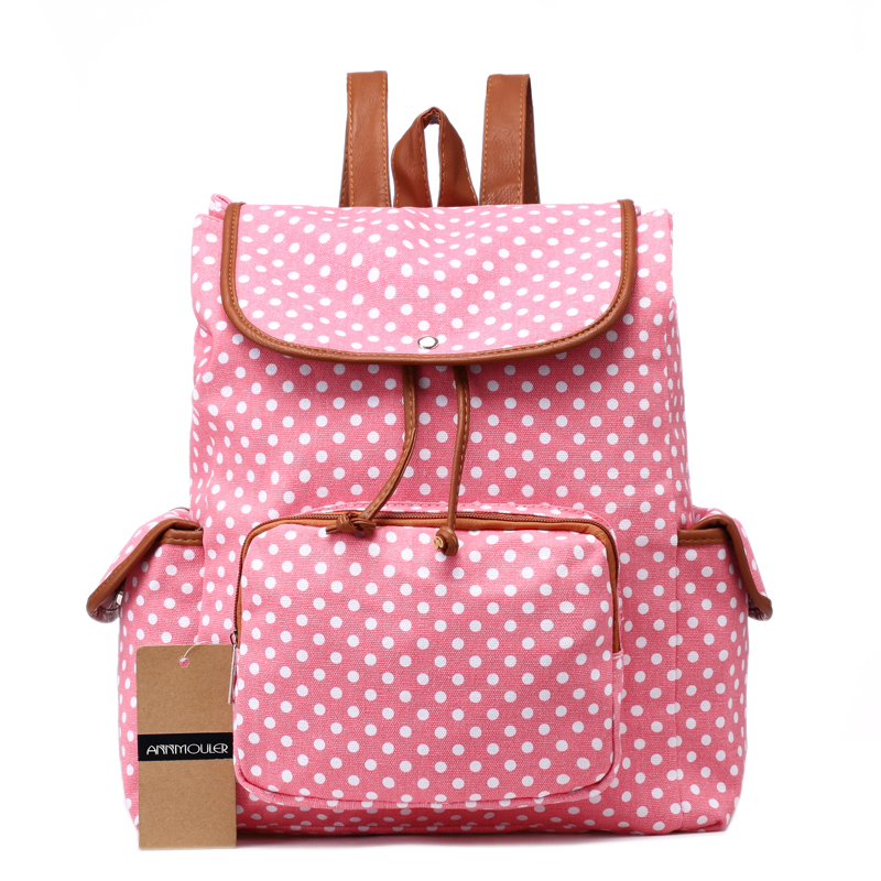 Large Capacity Women Backpacks Canvas Rucksack Polka Dots School Bag for Teenager Girls Preppy Style Backpack Pink Woven bag