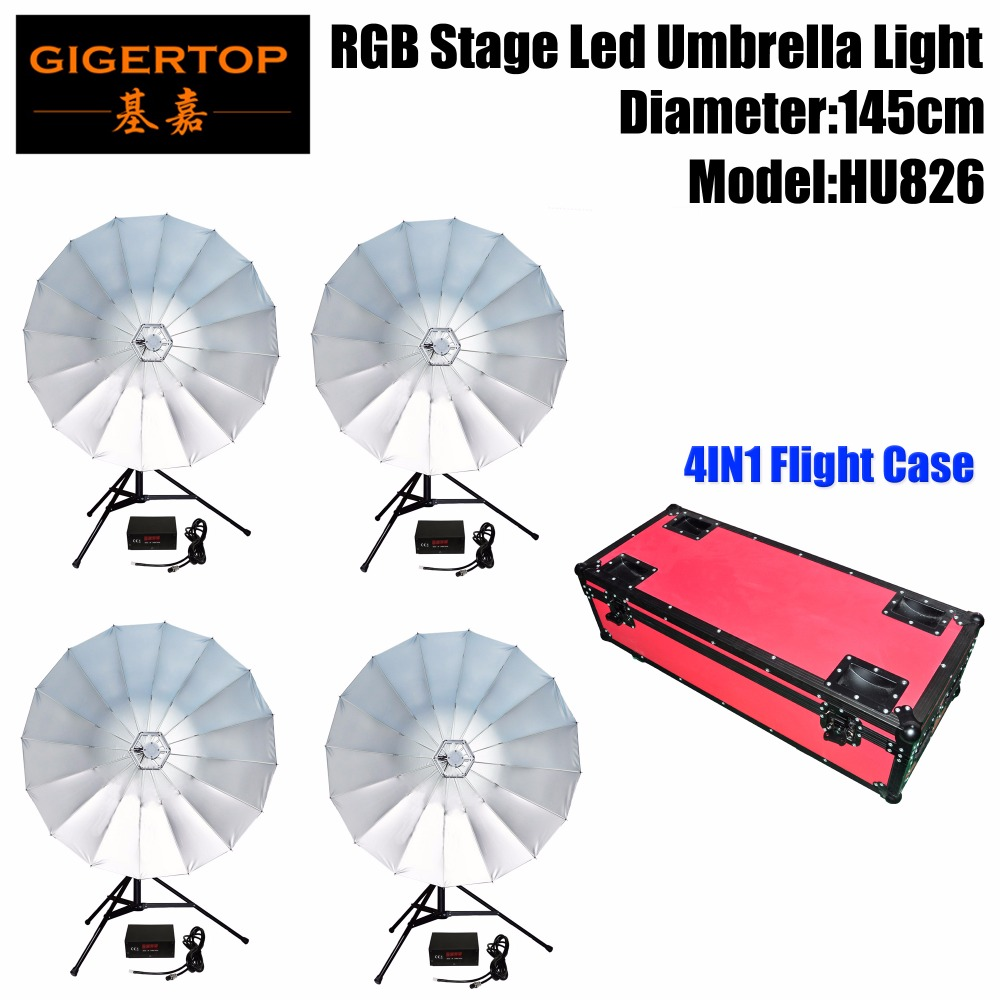 Glorious 4in1 Red Color Flightcase Pack Indoor Rgb Led Umbrella Professional Stage Lighting Cmy Color Mixing 145cm Open Diameter Tp-hu826 Invigorating Blood Circulation And Stopping Pains Commercial Lighting Stage Lighting Effect