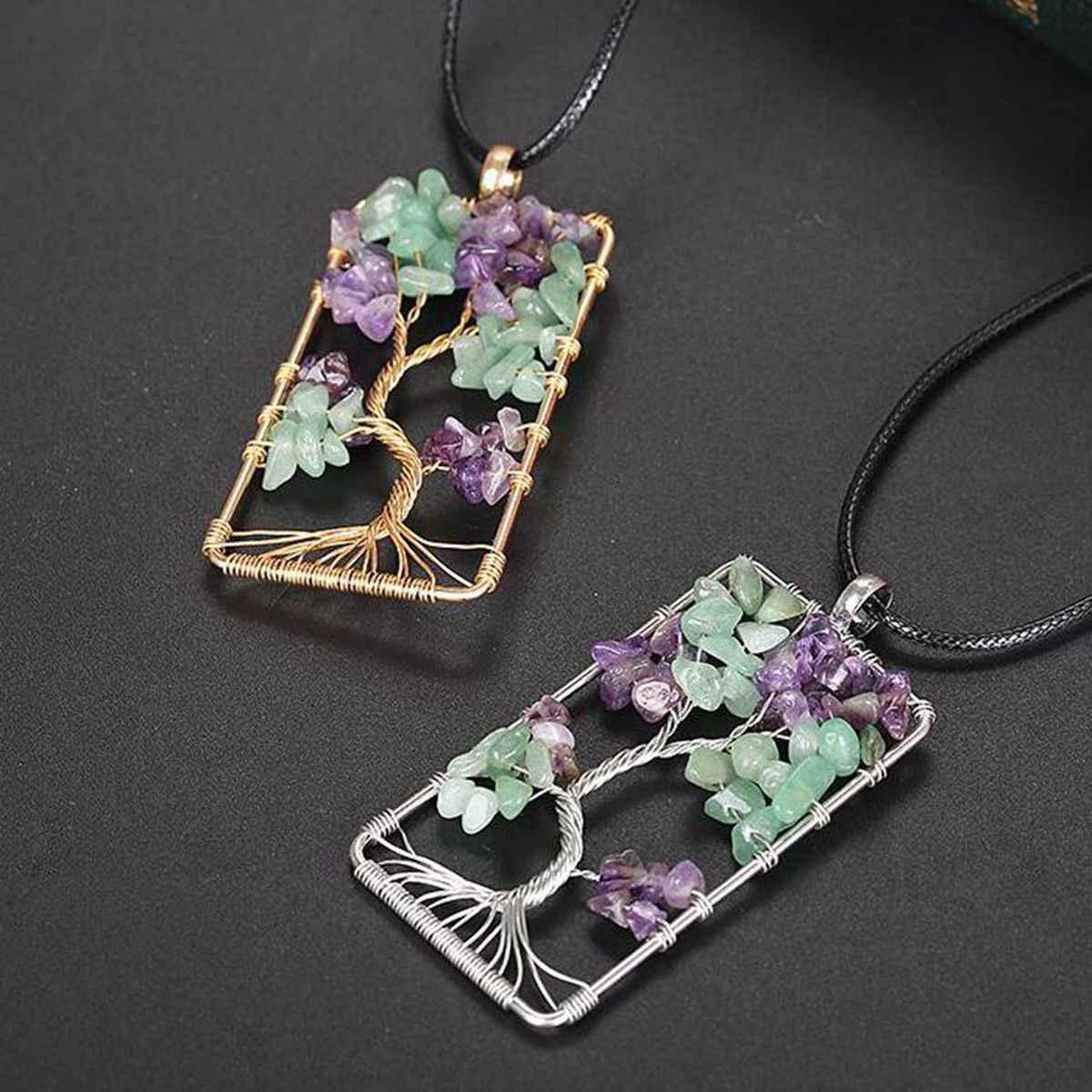Натуральный камень, аметисты, гравий, квадратное Дерево жизни, подвеска, ожерелья для женщин и мужчин, кристалл, кварц, колье, ювелирное изделие, бохо