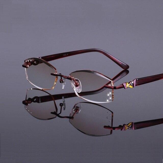 52-17-138 новый тип отрезанный край миопия очки кадр ultra light pure titanium очки кадр миопия леди R839 Бесплатная доставка