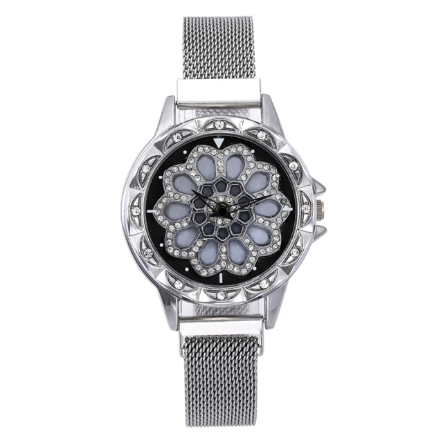 360 Degree Rotation Women Mesh Magnet Buckle Starry Sky Watch Luxury Fashion Ladies Geometric Quartz Watch Relogio Feminino 1