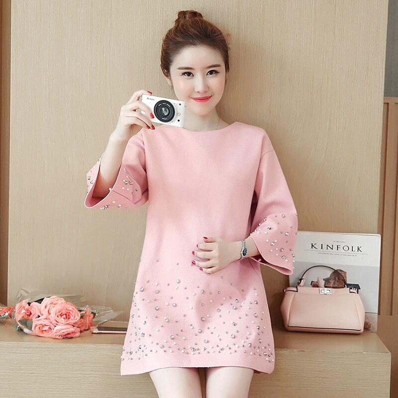 Pengpious 2018 autum winter Korean style woolen clothes pregnant women three quarter sleeve o-neck beaded rivet coat outwear