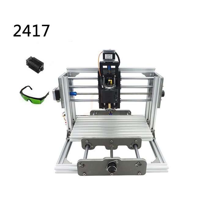 DIY laser cnc milling machine 2417 pcb pvc engraving router , wood lathe work travel 240 * 170 * 65mm GRBL control mini cnc router with 500mw laser head pcb milling machine work area 240 170 65mm