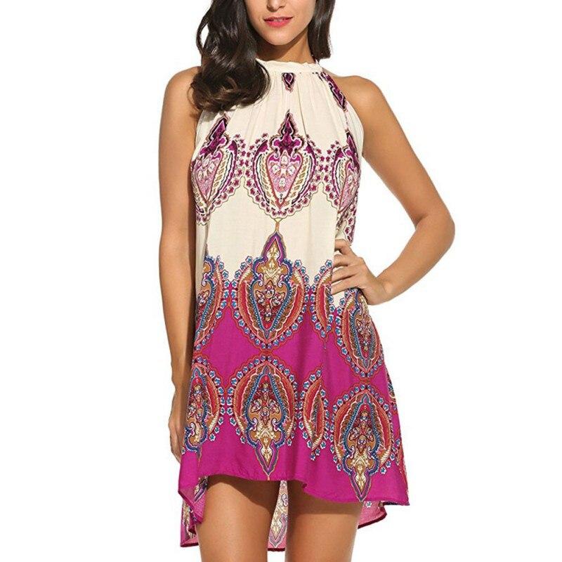 Geometric Floral Bohemain Summer Dress Women Sexy Lace Up Sleeveless Halter Dress High Waist Mini Short Beach Dress Femme H7