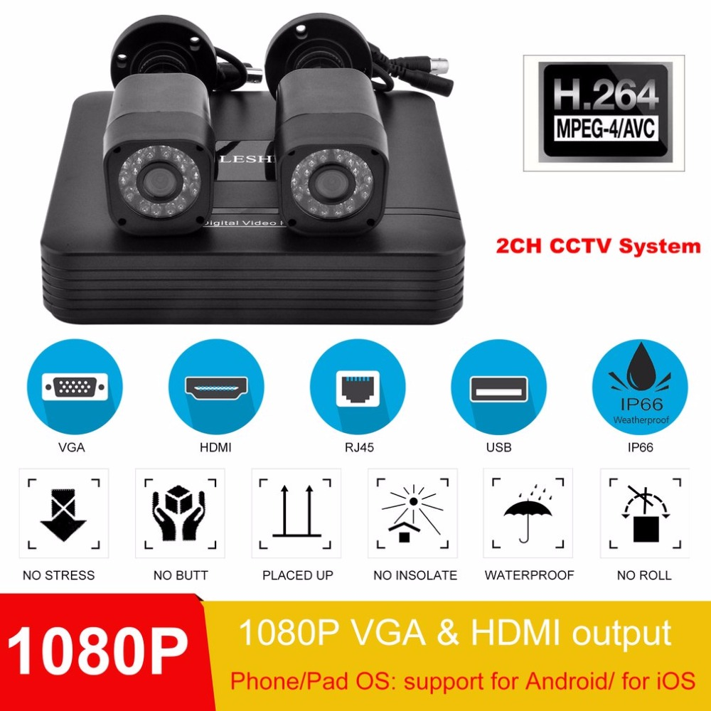LESHP Video Surveillance DVR Kit Home Network Camera 2CH CCTV System Portable Outdoor Indoor Video Recorder System EU Plug e2275swj