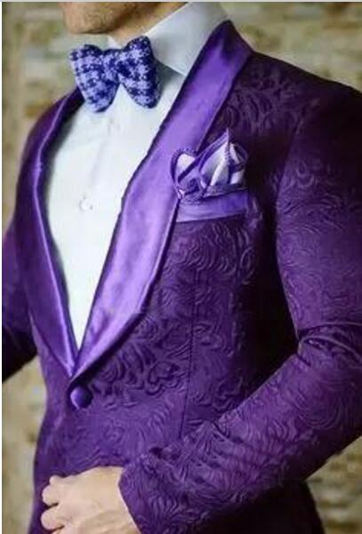 2019 Latest Coat Pant Designs Purple Jacquard Men Suit Slim Fit