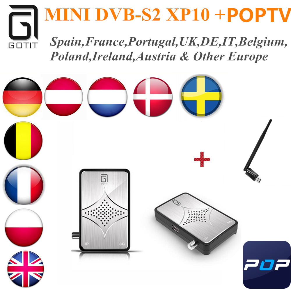 GOTiT MINI XP10 Arabic IPTV Satellite DVB-S2 Receiver with 1 Year POPTV UK Iran Germany Italy Serbia Scandinavian Set top box twip gotit 53