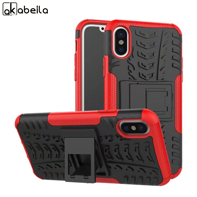 AKABEILA For Apple iPhone X iPhone 10 iPhone Ten 5.8 Cover Rugged Armor Mobile Phone Cases Hard PC & TPU Hybrid Kickstand Cover