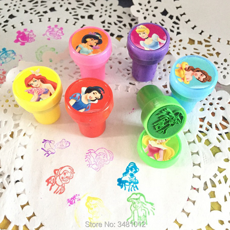 6pcs/bag Rubber Self Inking Stamps Educational Toy Cartoon Princess Stamps Children Hobby School Art Tool Of Party Toys Set