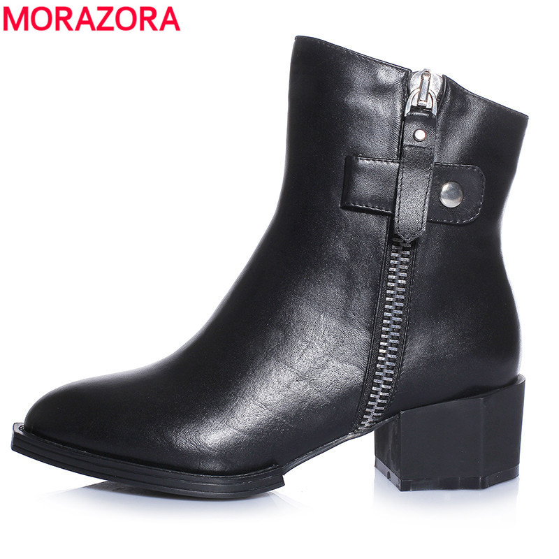 ФОТО Autumn fashion popular round toe buckle genuine leather boots for women simple leisure solid zip ladies ankle boots
