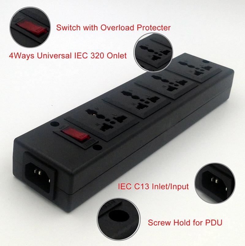 Pdu bande 4 Voies puissance bande Outlet Universal socket extension avec protecteur de surcharge, Protection Contre Les Surtensions Sortie propagation