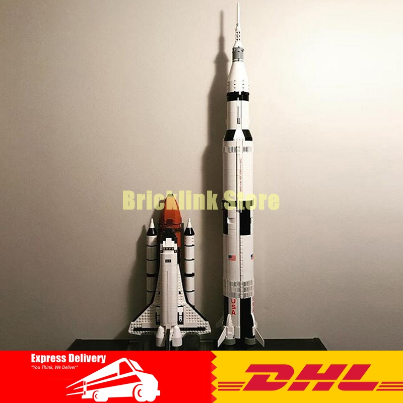 LEPIN 16014 Out of Print Space Shuttle Expedition+37003 Apollo Saturn V Launch Vehicle Building Blocks Bricks Toys 10231 21309 toys in space