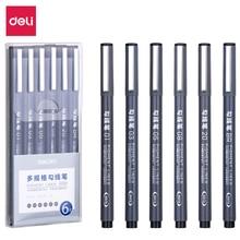 Deli 6pcs hook line pen set Fine Hand Painted Thin Hook Line Pen Art Supplies Drawing black art student paint Brush Painting