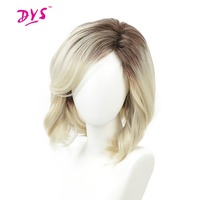 Deyngs Short Pixie Cut Synthetic Wigs For Black Women Ombre Brown To Blonde Color Natural Wave Women's Full Hair Wigs For Party