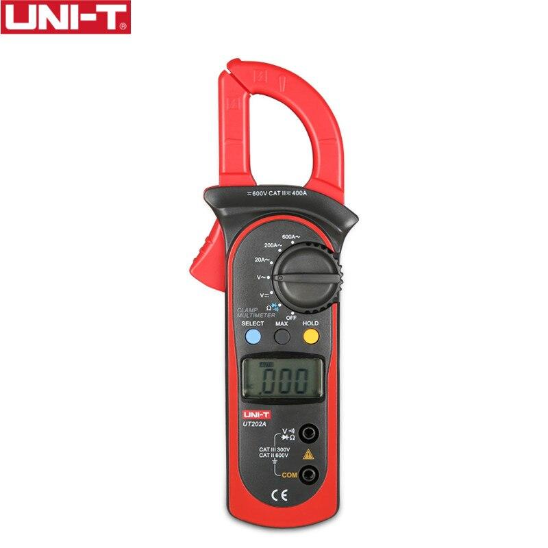 UNI-T UT202A 400-600A Ditgital abrazadera de corriente herramienta de diagnóstico capacitancia probador NCV prueba DC/AC multímetro