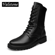 Valstone Hand made Combat boots men Genuine Leather boots Warm winter snow high tops velvet boots Motorcycle boots Plus size 50