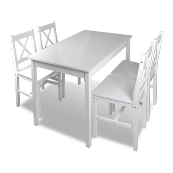 Outdoor Wooden White Table with 4 Chairs Set  1