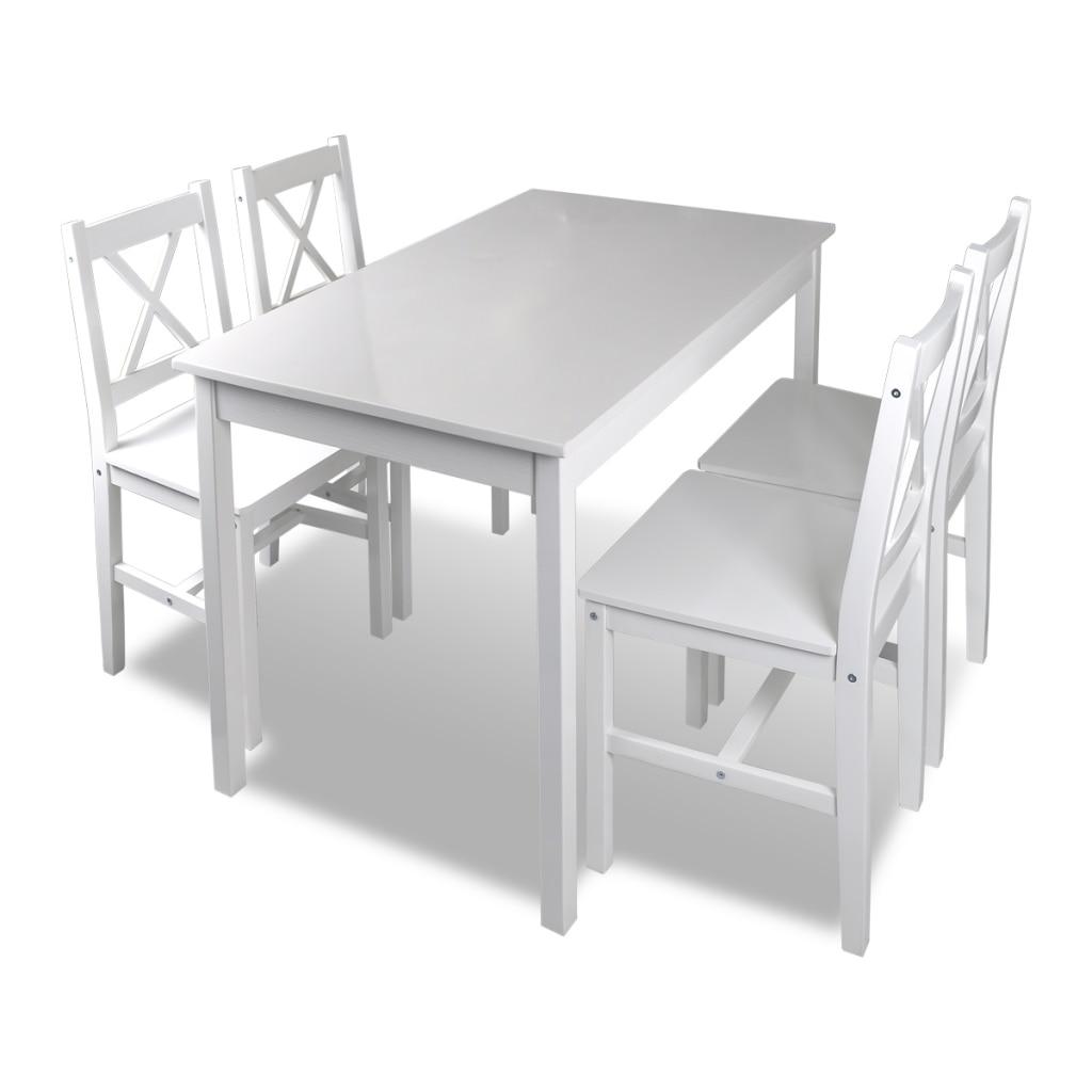 Table À Manger Nordique €164.8 35% de réduction table en bois avec 4 chaises en bois ensemble de  meubles table à manger et chaise en bois massif blanc ensemble patio