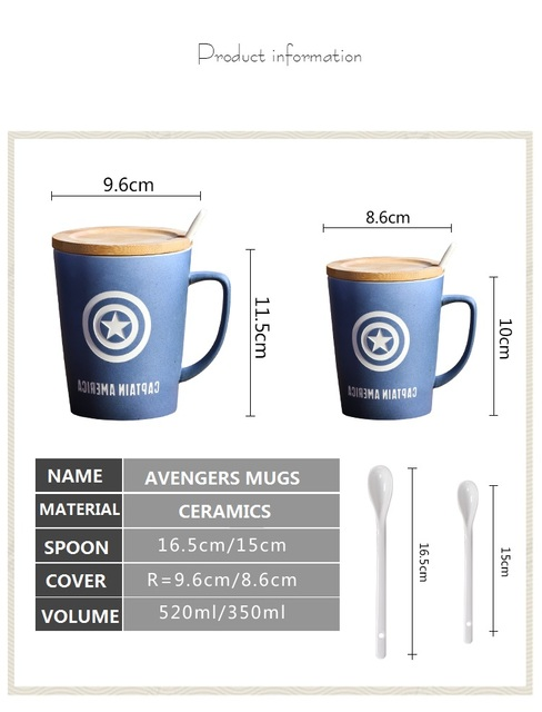 OUSSIRRO Super Hero Avenger Justice League Infinity Mugs With Cover and Spoon Pure Color Mugs Cup Kitchen Tool Gift 4
