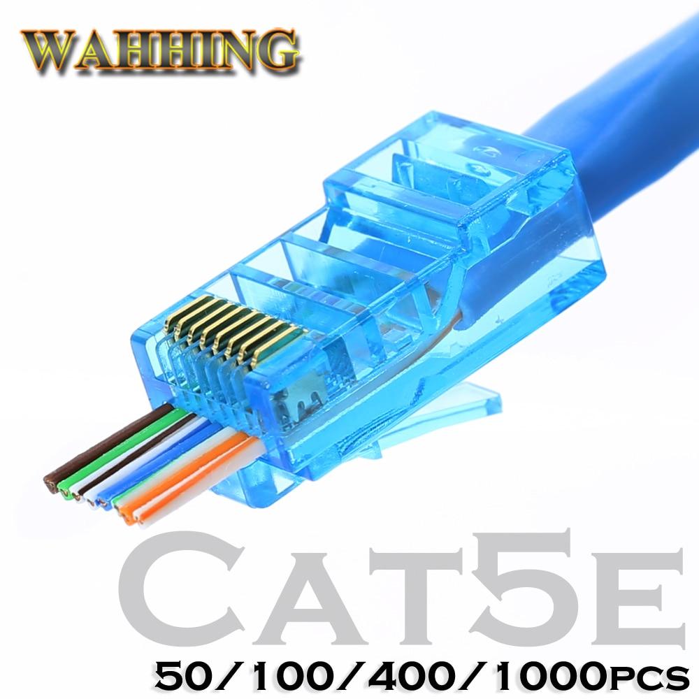 Conector Rj45 Cat5 Cat5e Conector de red 8P8C Enchufe rj45 modular sin blindaje Los terminales utp tienen un orificio HY1538