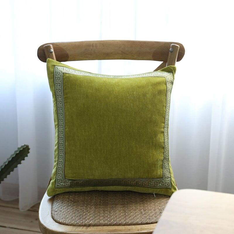 Green Velvet Pillow Case Luxury European Style Cushion Cover Square Throw Pillowcase Office Sofa Car Bed Pillow Cover Home Decor