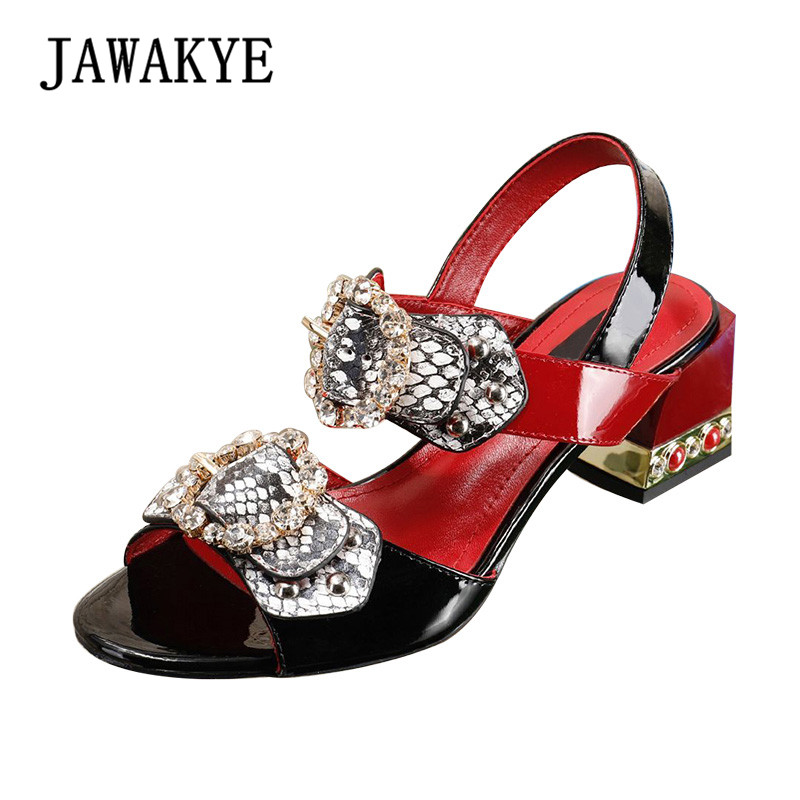 2018 New Crystal Buckle Women Sandals Square Chunky High Heels Shoes Woman Summer ladies fashion Party Shoes Sandalias mujer цена 2017