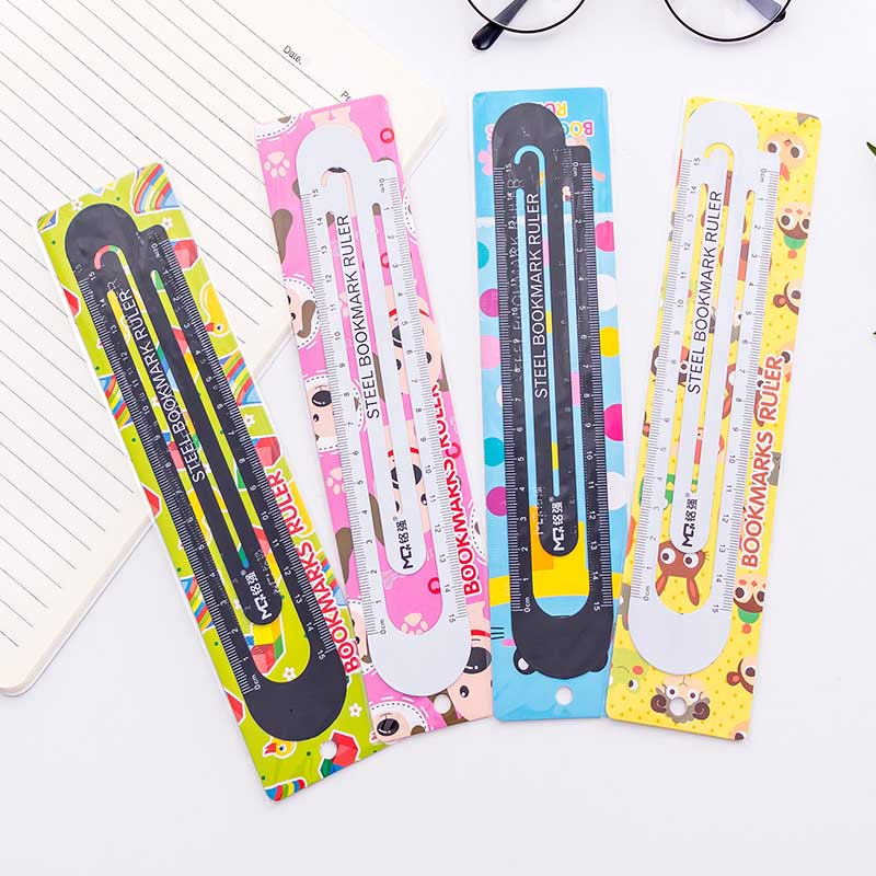 Stainless Steel Paperclip Bookmark Metal Ruler Funny School Office Stationery Gifts Multifunction Clip Bookmark 15cm Measurement