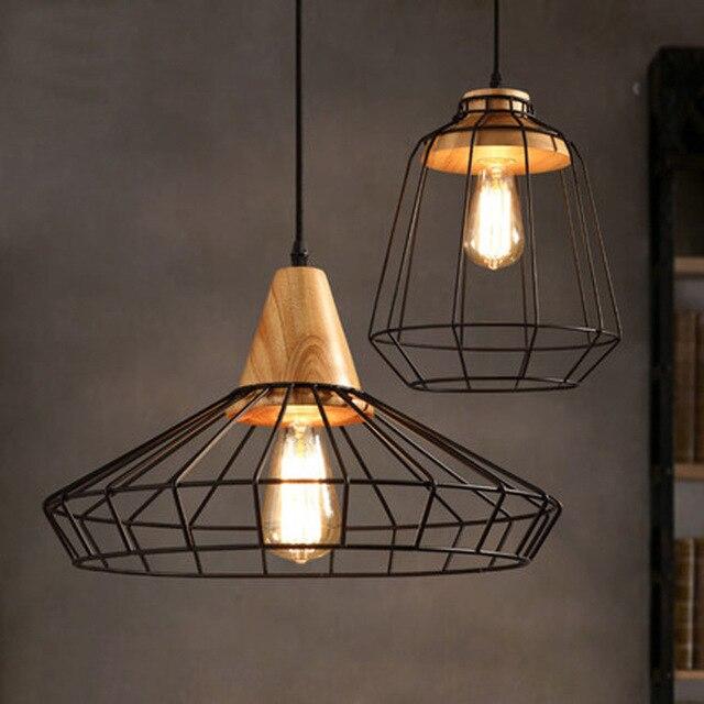 Nordic Retro Wire Mesh Cage Pendant Light Restaurant Coffee Solid Wood Iron Hanging Lamp