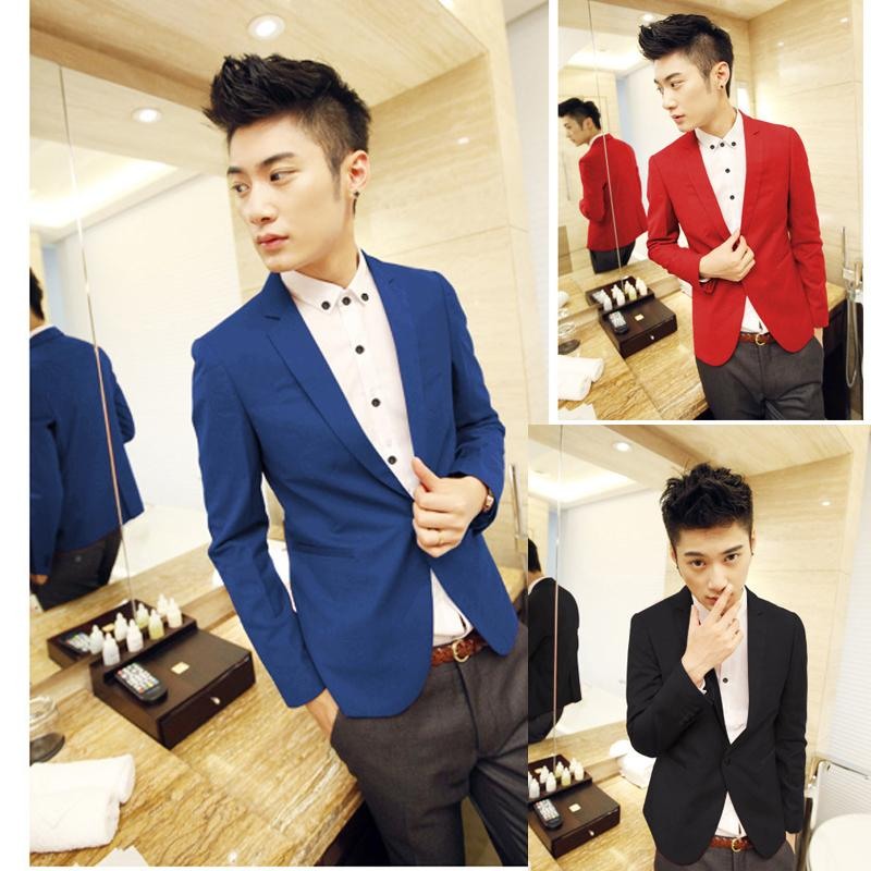 New Arrival Single Button Leisure Blazers Men Male  Fashion Slim Fit Casual Suit Red Navy Blue Blazer Dress Clothing M-3XL