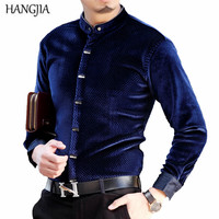Gold Velvet Men's Business Casual Stand Collar Shirts 2017 New High end Banquet Plus Size Solid Color Long Sleeved Shirt M 4XL