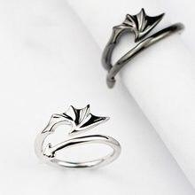 Модные эмалевые парные кольца, кольца из нержавеющей стали, Романтический Ангел, дьявол, кольца Крылья, обручальные кольца для пар