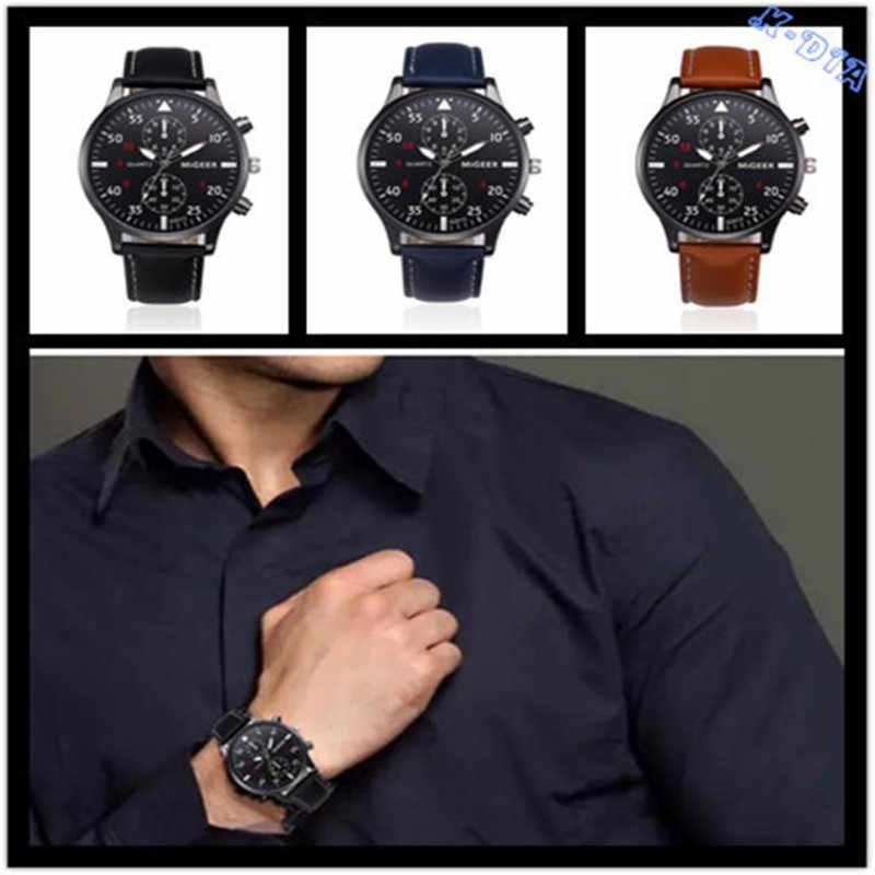 Retro Design Leather Band Analog Alloy Quartz Wrist Watch 2018 new Mens Sports Clock Men Top Brand Relogio Masculino hot sales