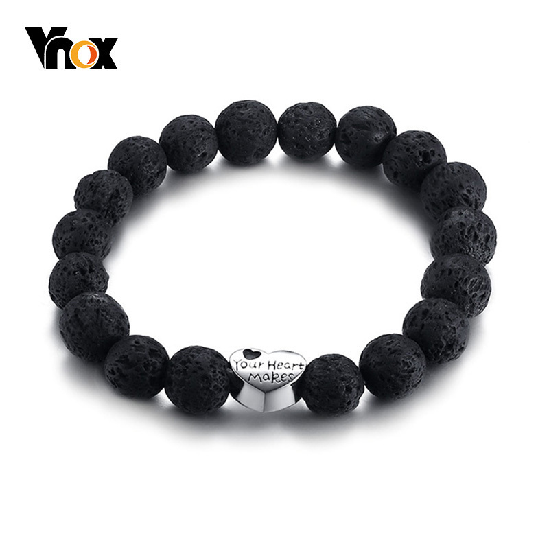 Vnox Engraved Heart Charm Bracelet For Women Lava Stones Beads Stainless Steel Charms Stretch Pulseira