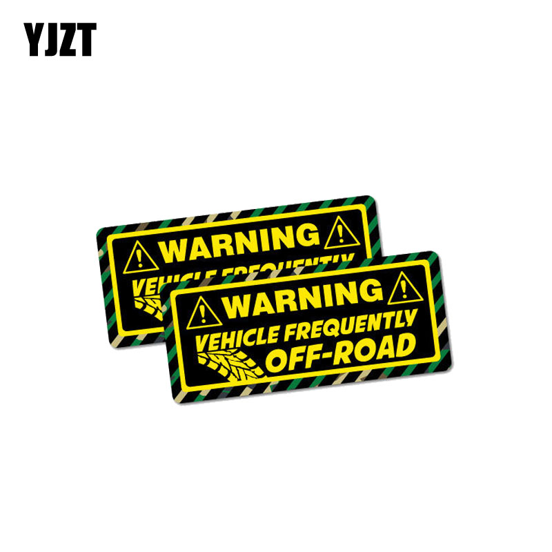 YJZT 2X 10.2CM*4.4CM Warning Vehicle Frequently Off Road Car Sticker Reflective Decal PVC 12-1049