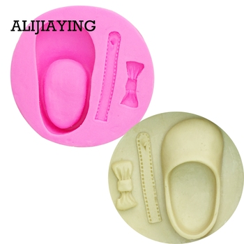 M0094 Cute Baby Shoes Bow Silicone Cake Molds Chocolate Clay Candy Mold Fondant Decorating Tools
