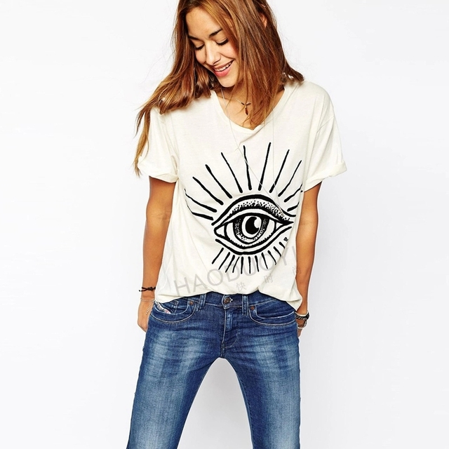2015 Summer New Street Fashion Women Tops Short Sleeve Round Neck Big Eye Printing Cotton Tshirt White