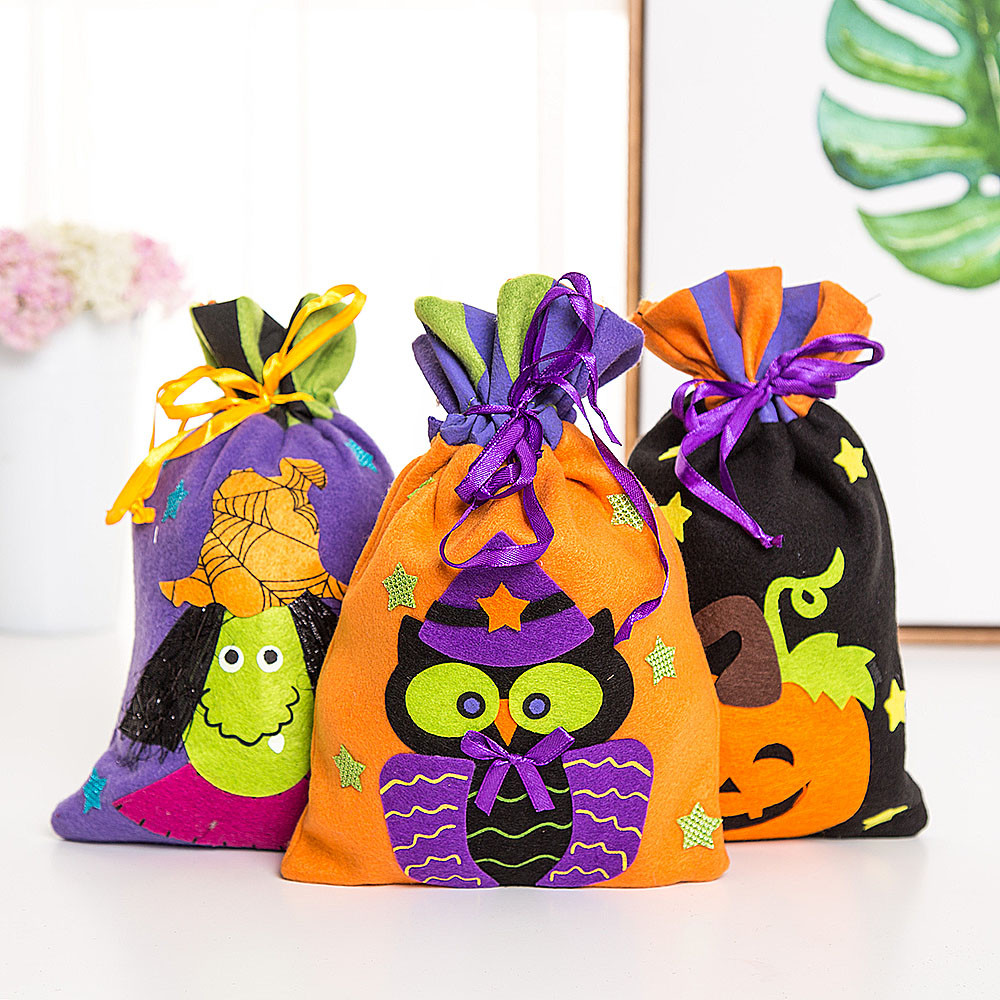 Halloween Gift Bags For Black Cat Pumpkin Ghost Owl Witch Tote Bags Festival Packaging Kids Funny Candy Bag Holiday Supplies A80