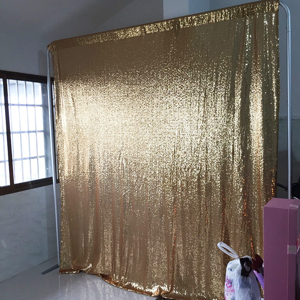 8ft 2 4m seamless gold silver small sequin backdrop curtain with pole pocket on top sequin