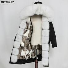 OFTBUY Chaqueta impermeable de Invierno para mujer, abrigo largo X de piel auténtica, con cuello de piel de mapache Natural, forro de piel de zorro desmontable